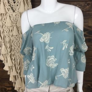Lush | Off Shoulder Floral Embroidered Blouse